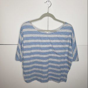 Cotton On Blue and Gray Striped Top Size Small